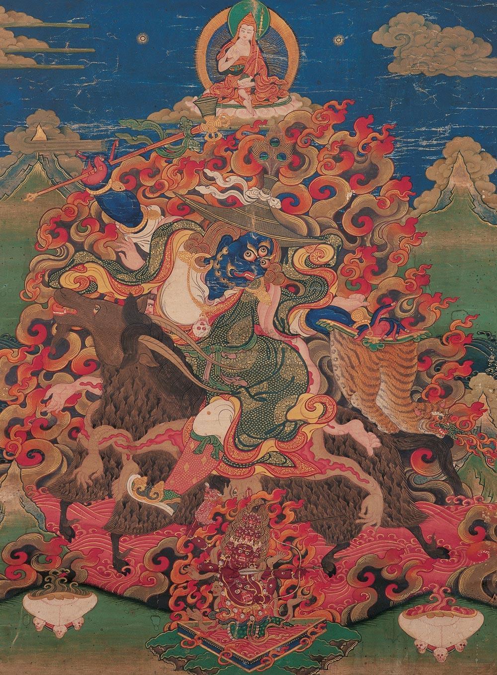*2096 18-19世纪 骑羊单坚护法唐卡