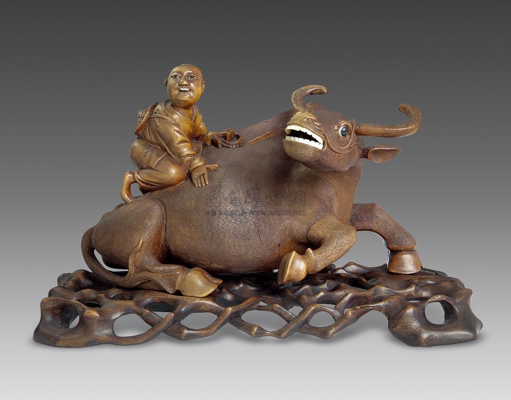0280 清 黄杨木雕童子牧牛摆件