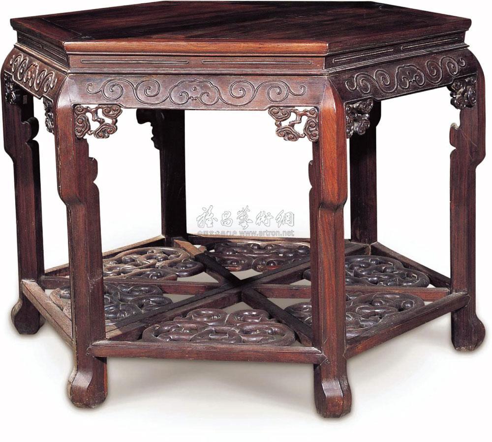 0034 苏式红木雕花六角半桌 (双拼)