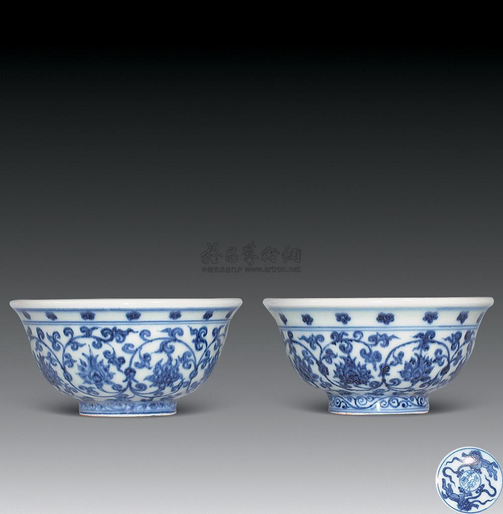 0768 青花缠枝花卉压手杯 (一对)