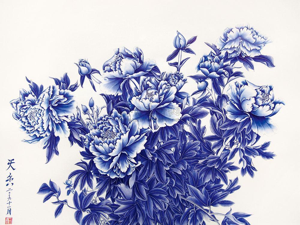 """作品""""兰牡丹""""曾获2008年全国第三届钢笔画展优秀奖,并入选参加2010年图片"""
