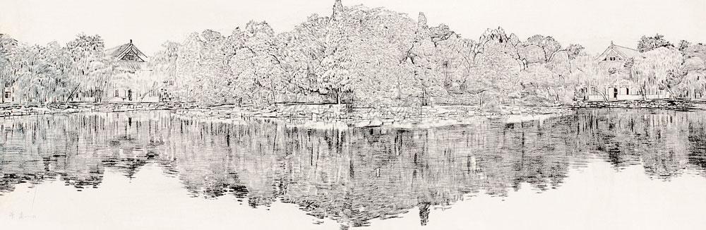 湖的简笔画图片