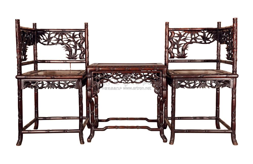 *0010 清 红木竹节椅,茶几 (一套三件)