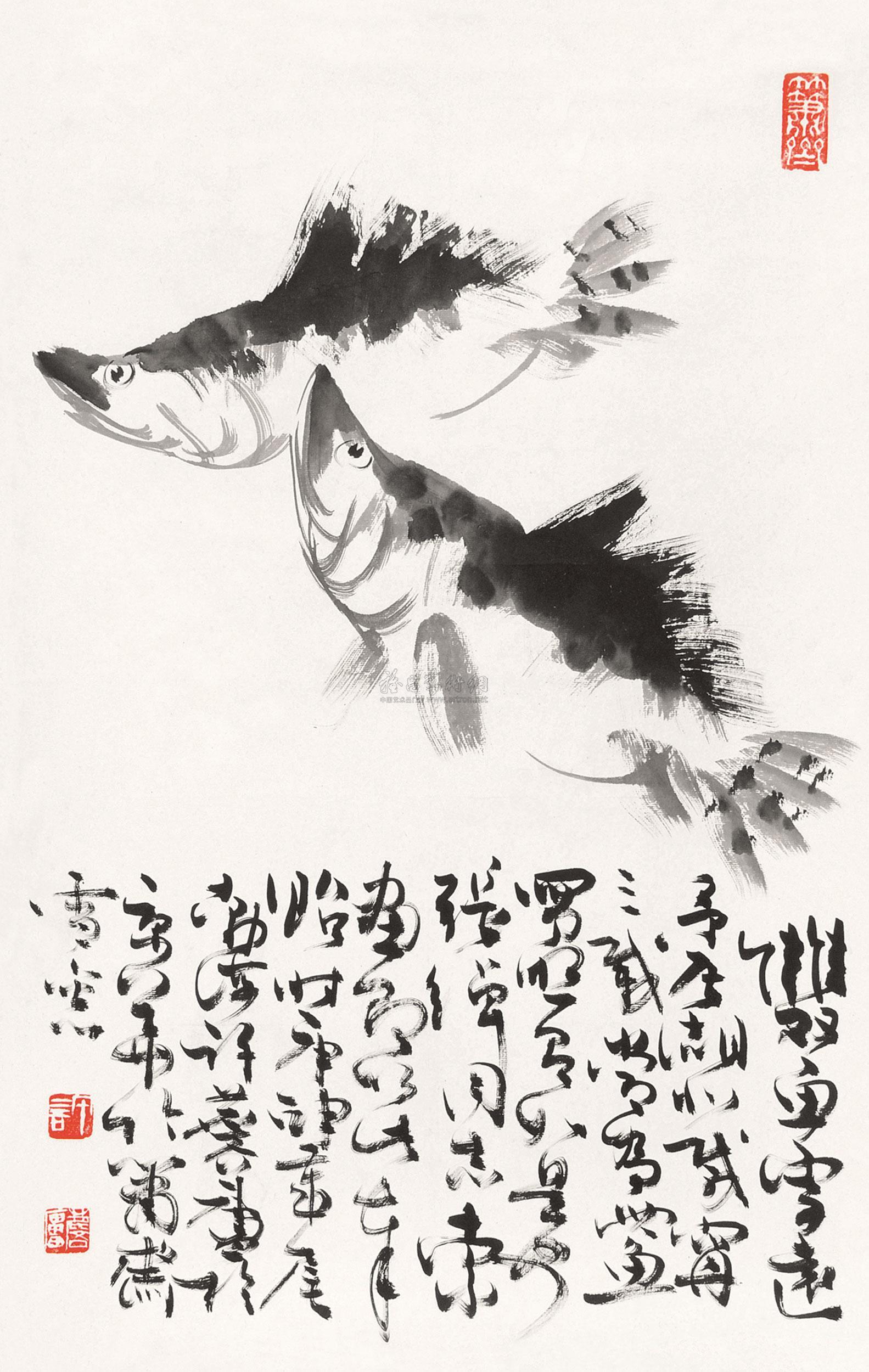 0516 双鱼图 镜片 水墨纸本