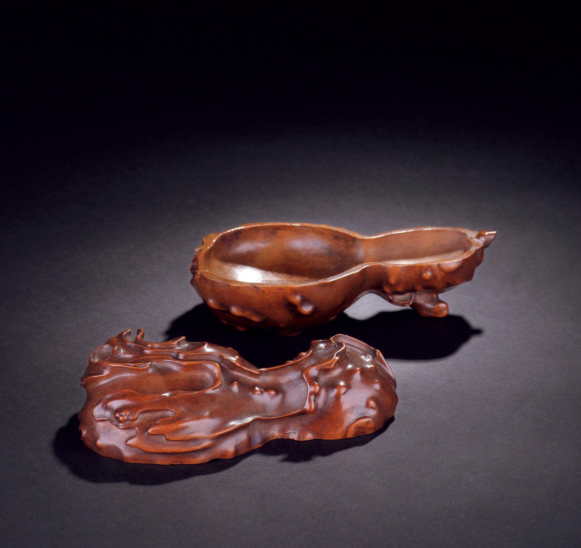 0718 清中期 黄杨木雕葫芦盖盒