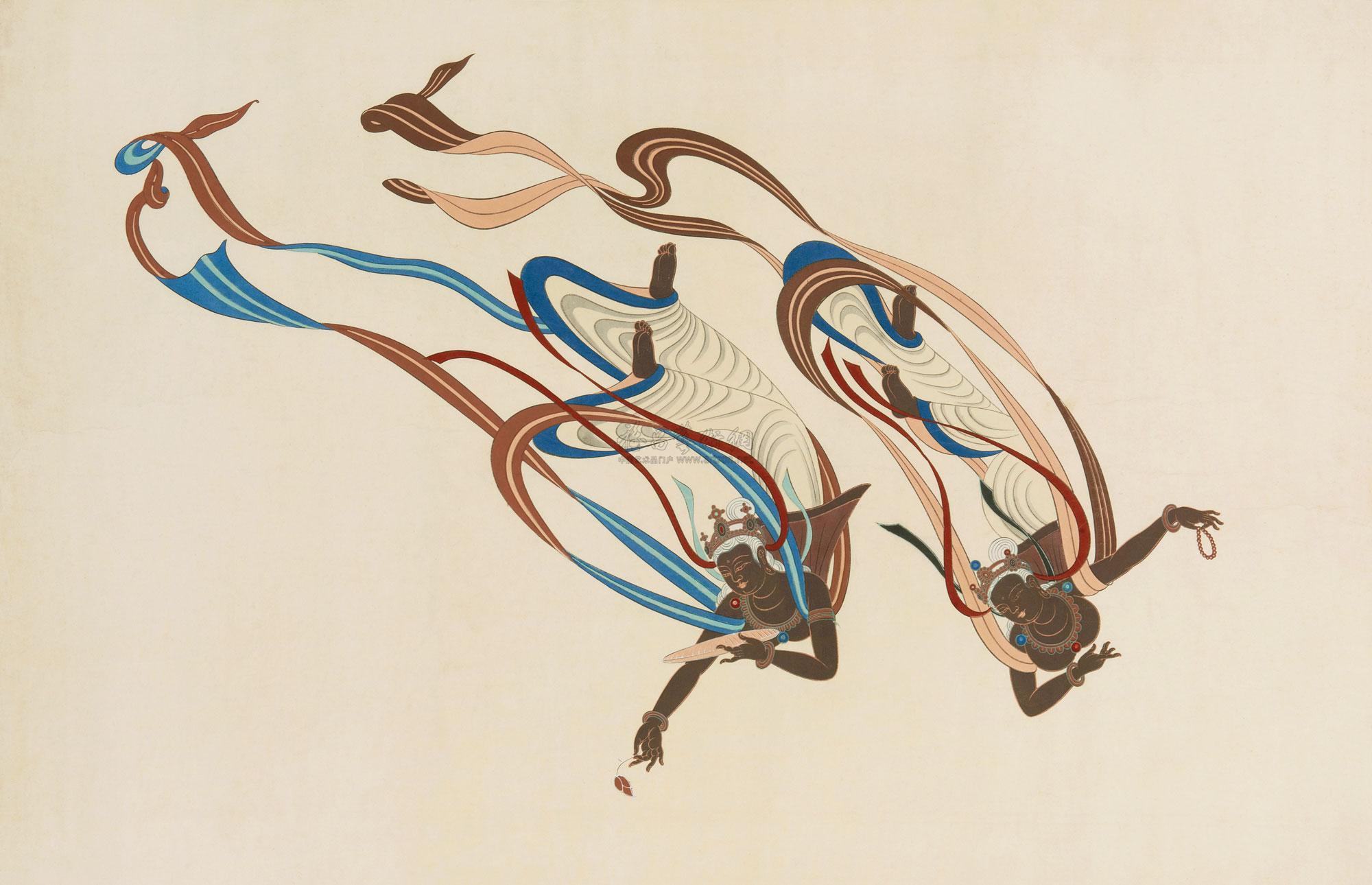 1446 唐敦煌壁画飞天 纸本图片