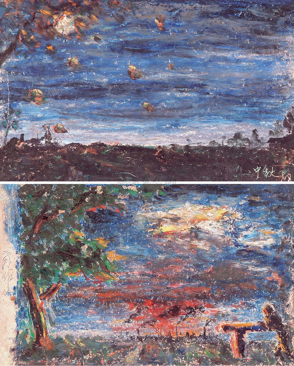 1146 1991年作 风景 (二幅) 纸本油画棒