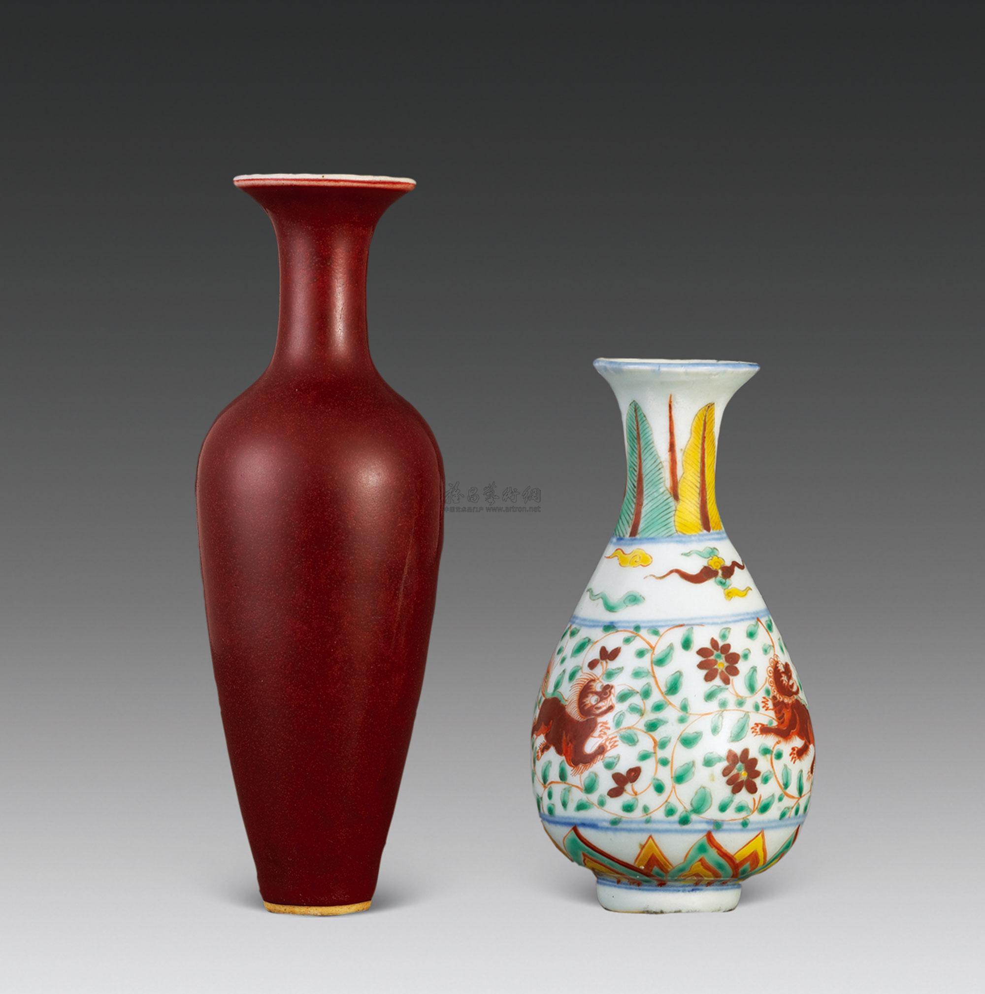 2546 五彩狮纹玉壶春 红釉柳叶瓶 (两件)图片