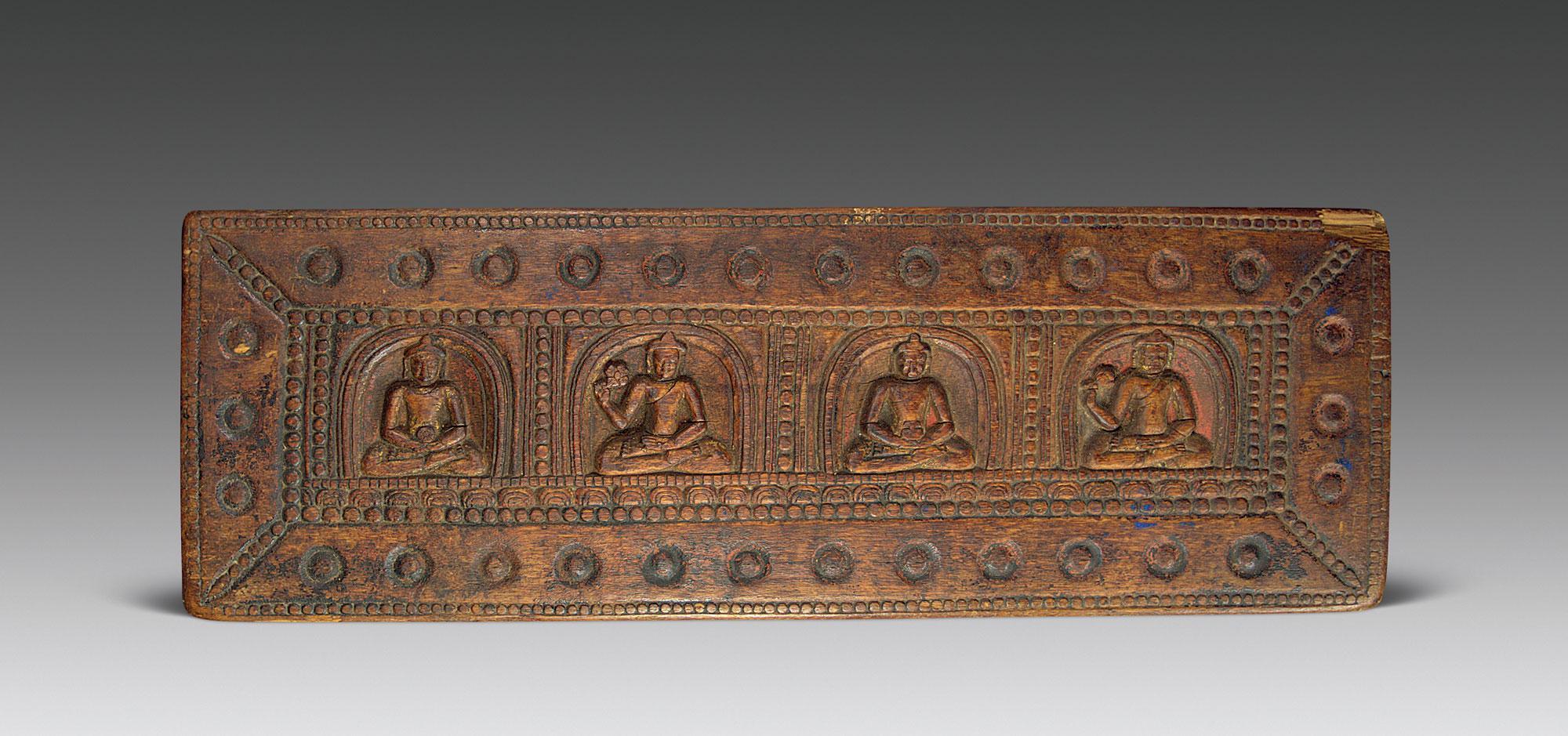 0091 元 藏传佛教木雕佛像经板