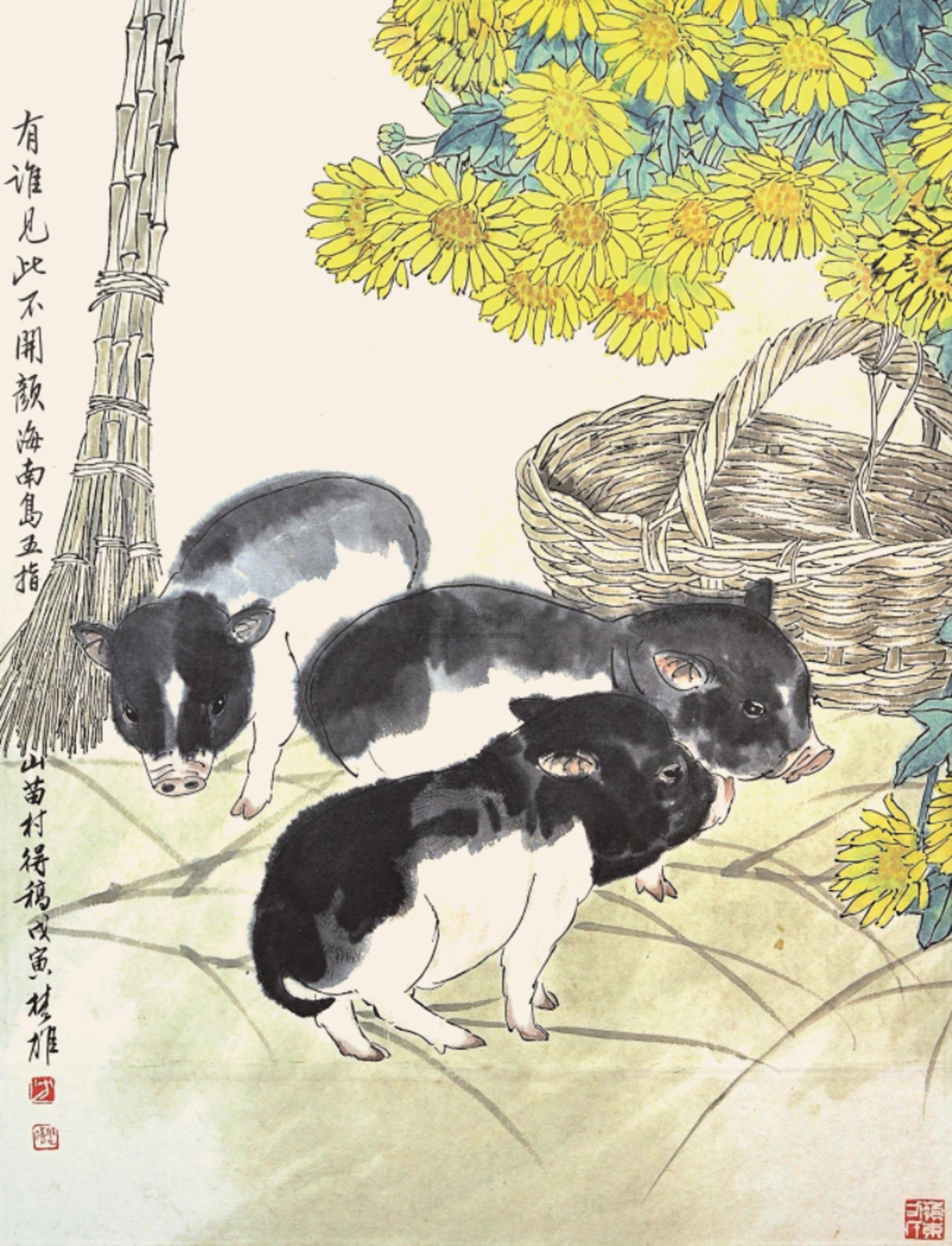 国画猪_国画 1910_2500 竖版 竖屏