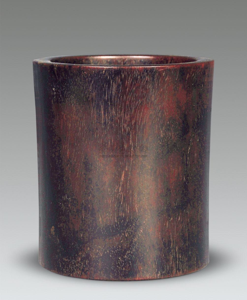 【民国 紫檀木雕素面笔筒】拍卖品
