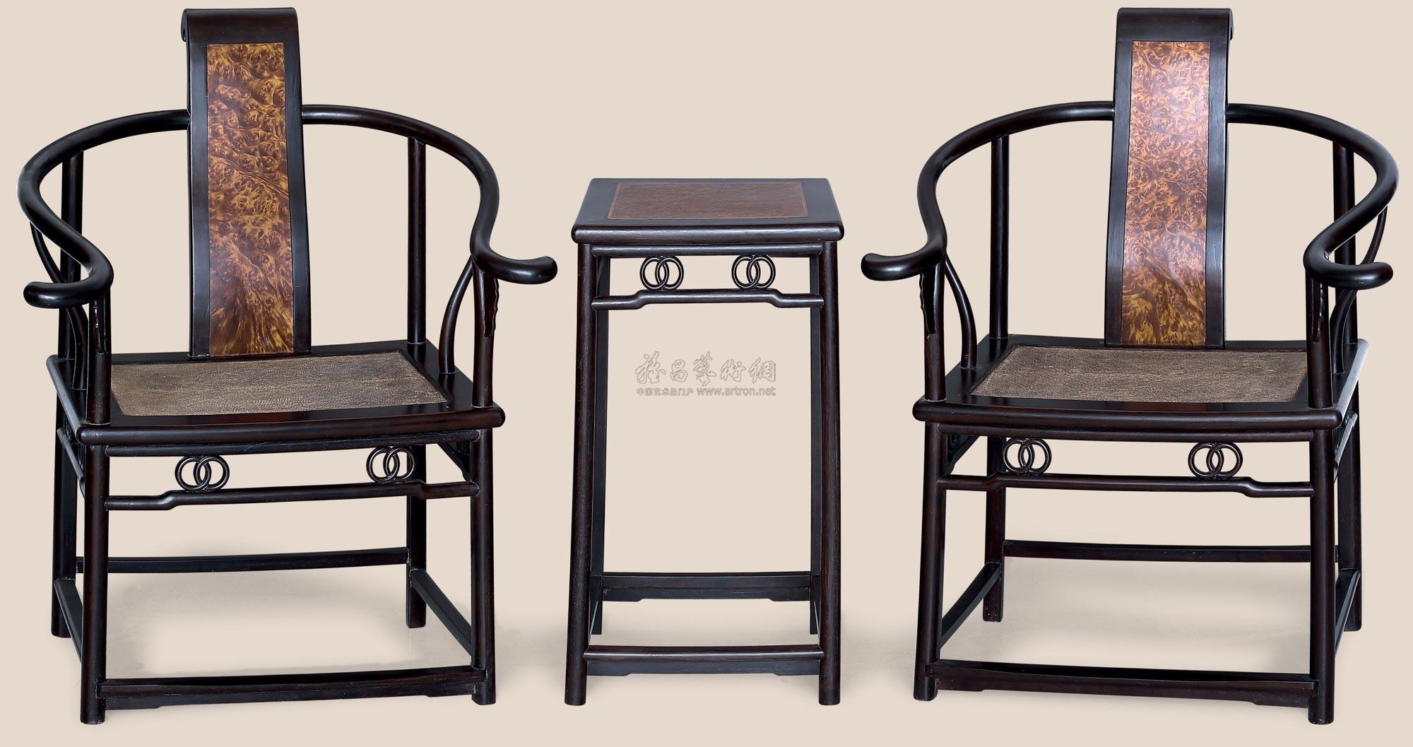 【梓檀嵌影木圈椅 (三件)】拍卖品