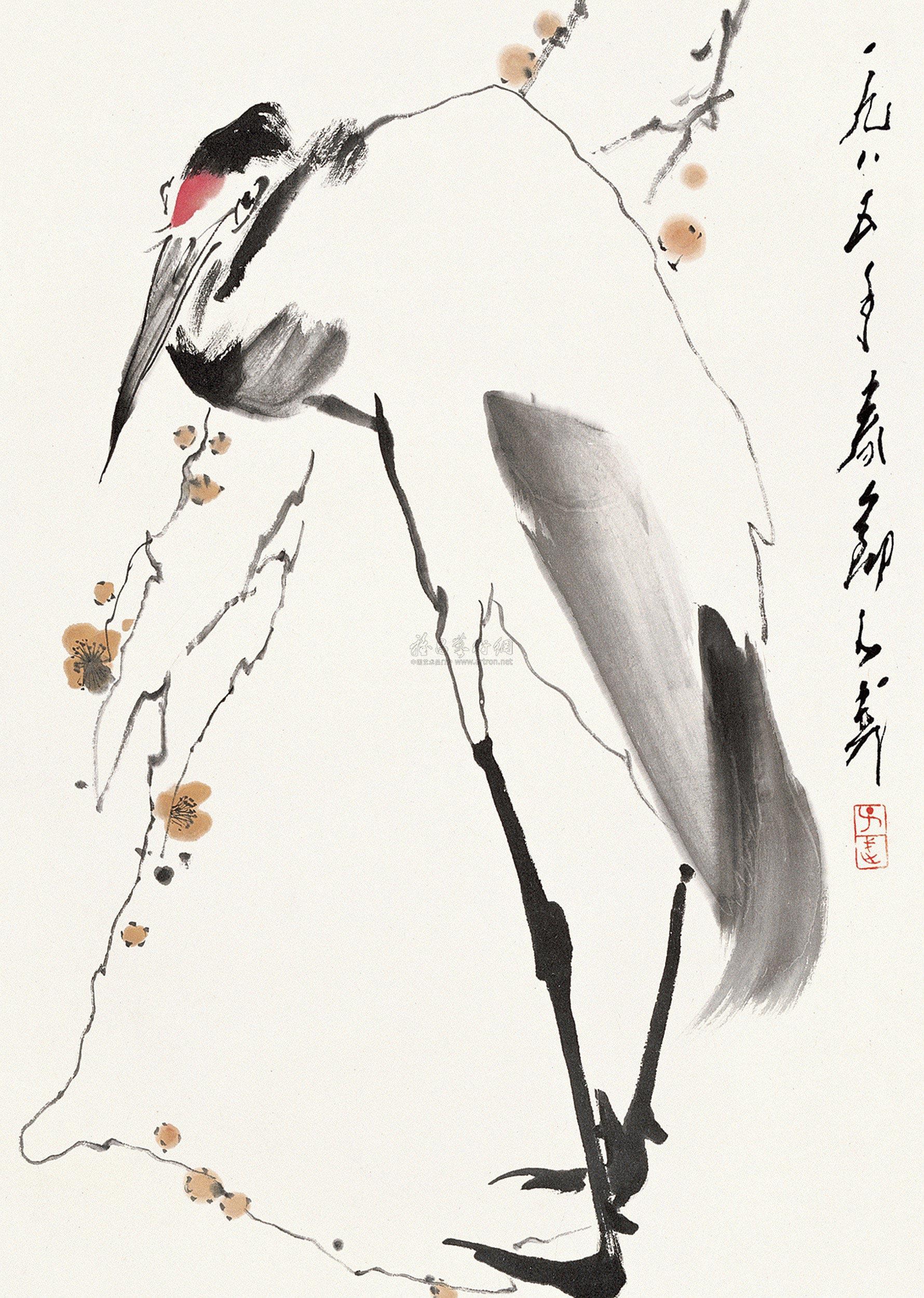 0464 1985年作 梅妻鹤子 立轴 设色纸本