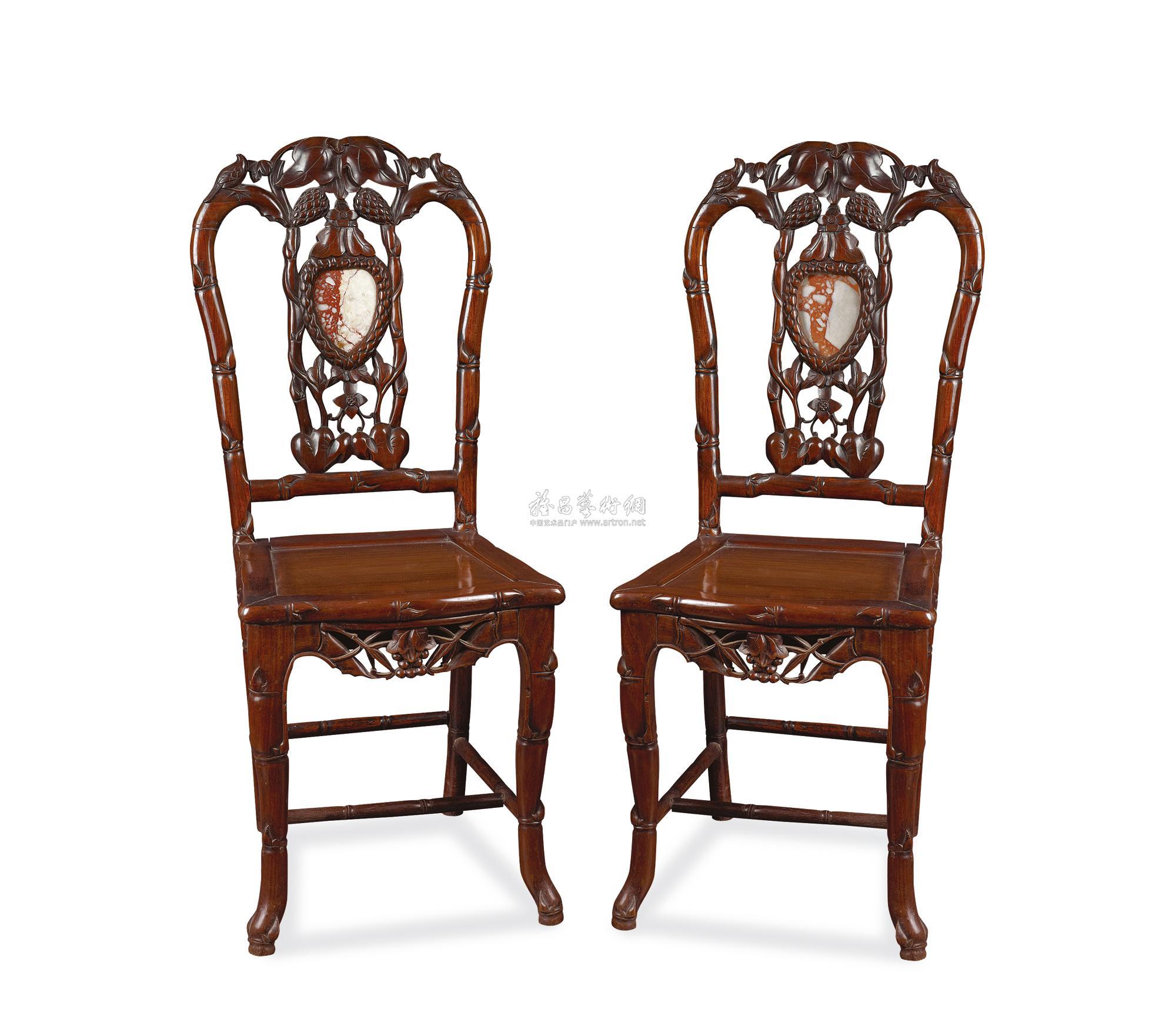 0679 民国 红木小姐椅 (一对)