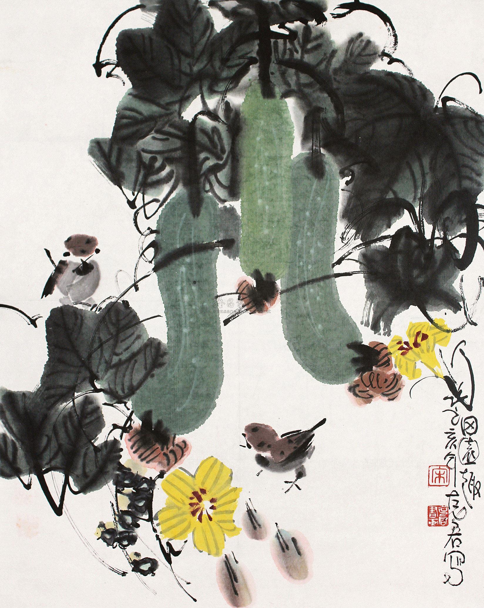 【丝瓜小鸟】拍卖品_图片_价格_鉴赏_绘画_雅昌艺术品图片
