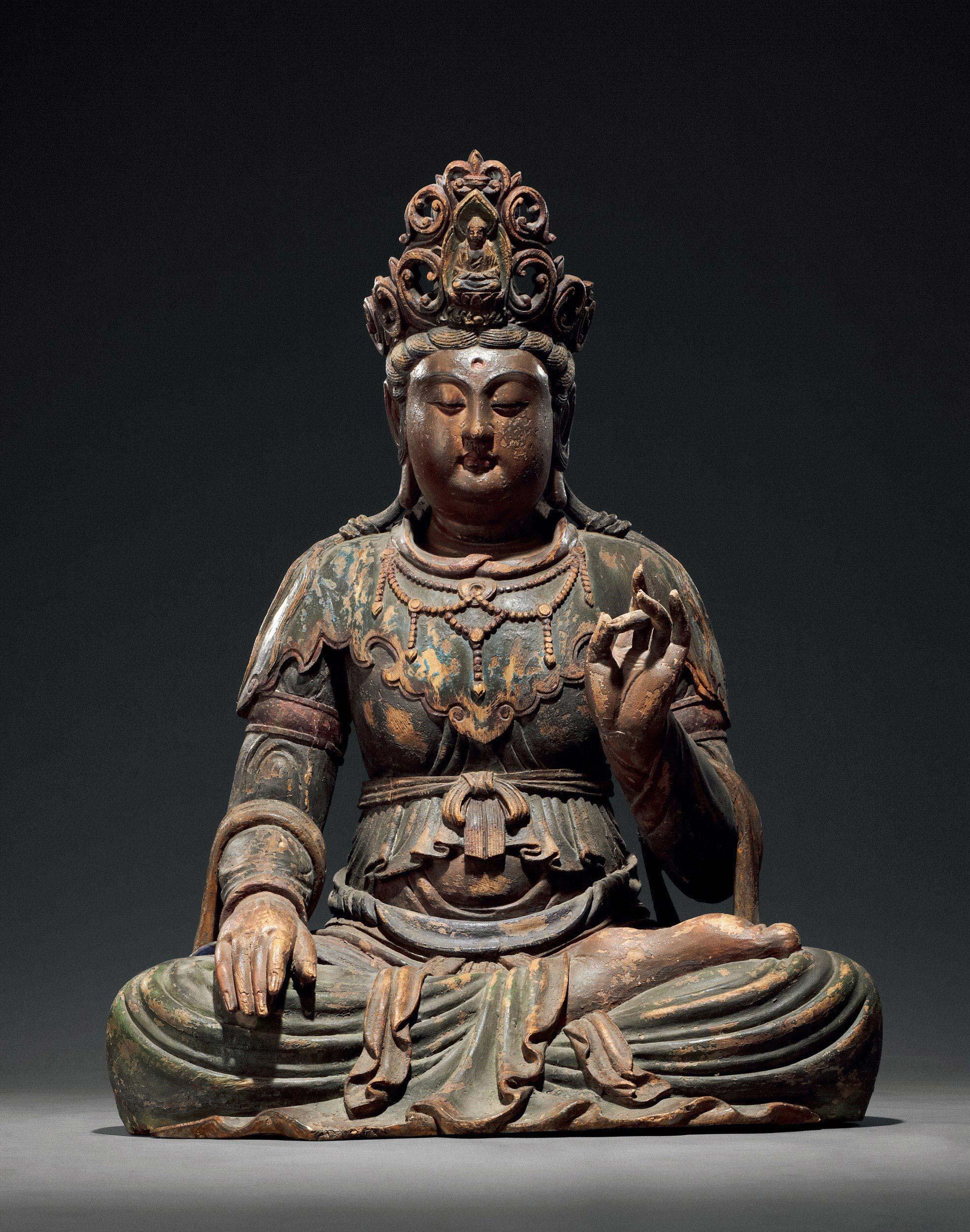 0027 宋-元 彩绘木雕观音坐像