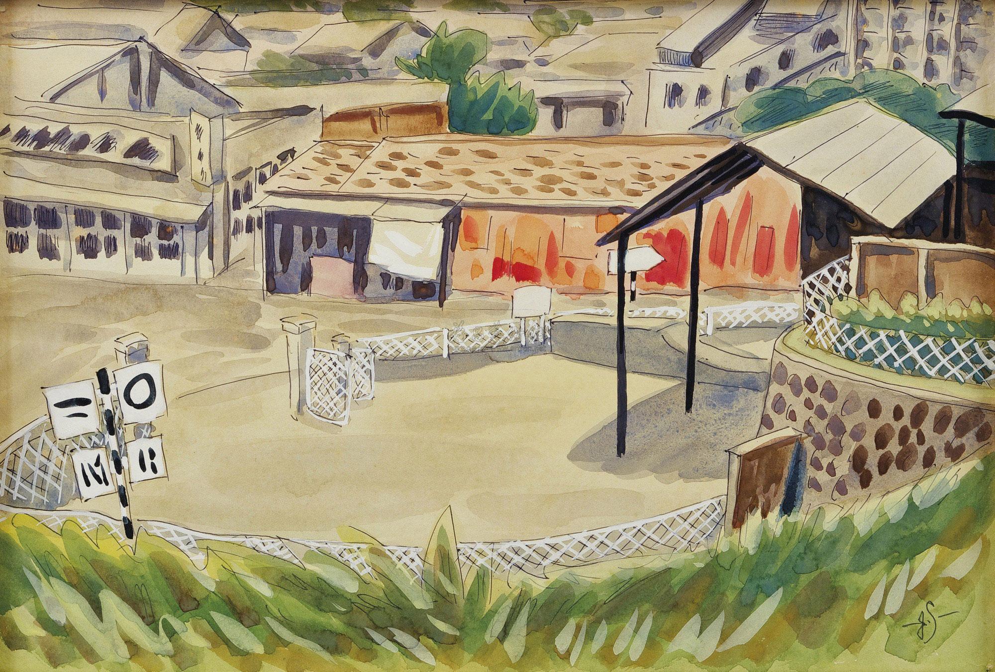 高中�yo�z+���_0613 1991年作 三叉路口(竹东高中校门前) 水彩纸本