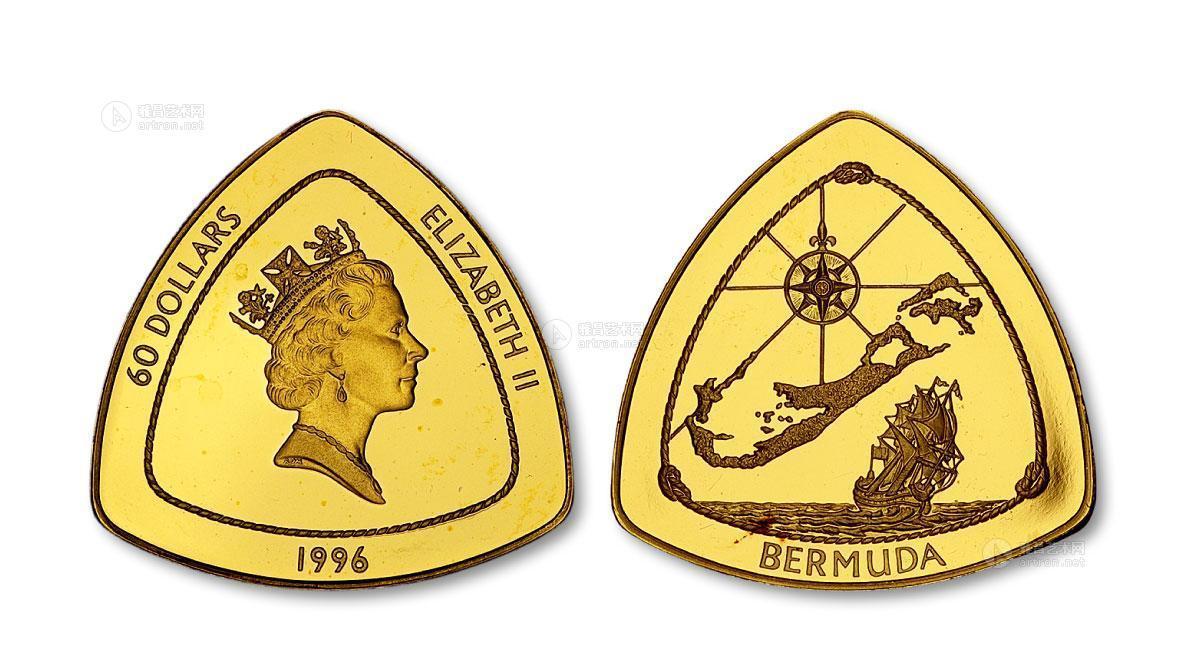 60美金_*7232 百慕大1996年帆船航行60美元三角形精制金币一枚