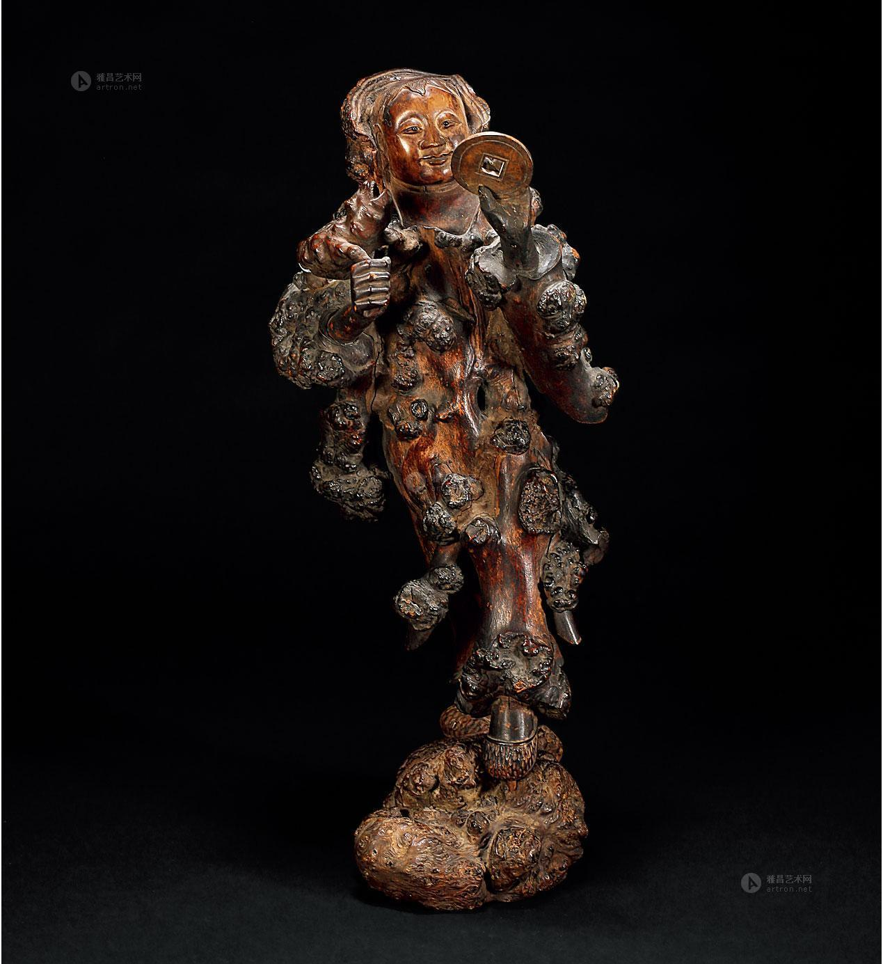 1484 清 树瘤根雕刘海戏金蟾像