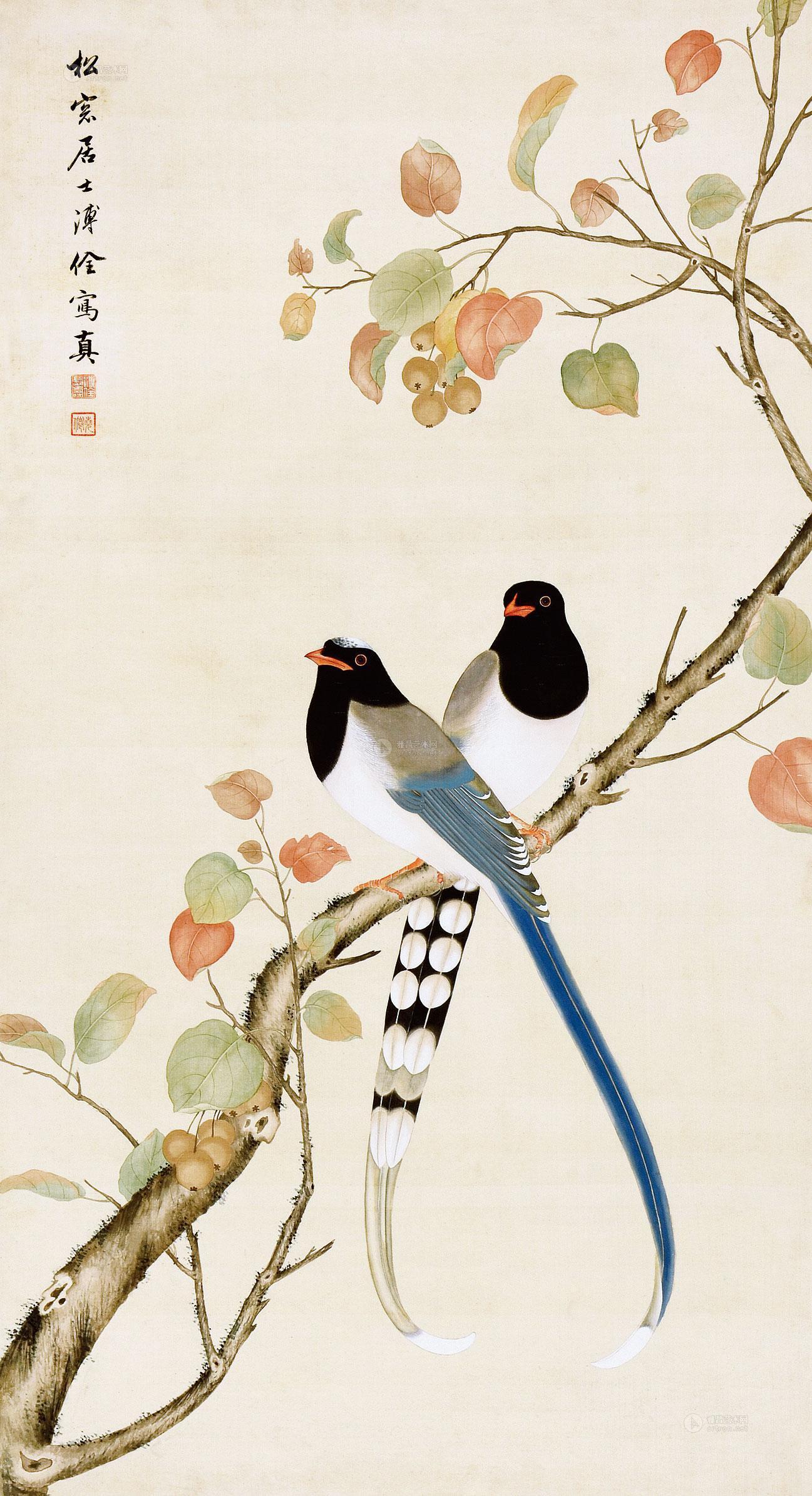 0024 白头双鸟图 镜框 设色纸本