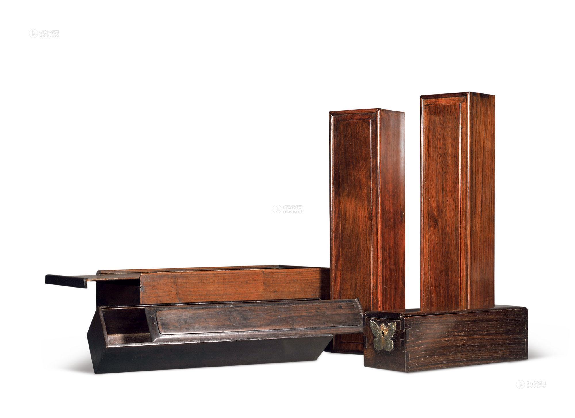 5077 清 红木画盒 (五件)