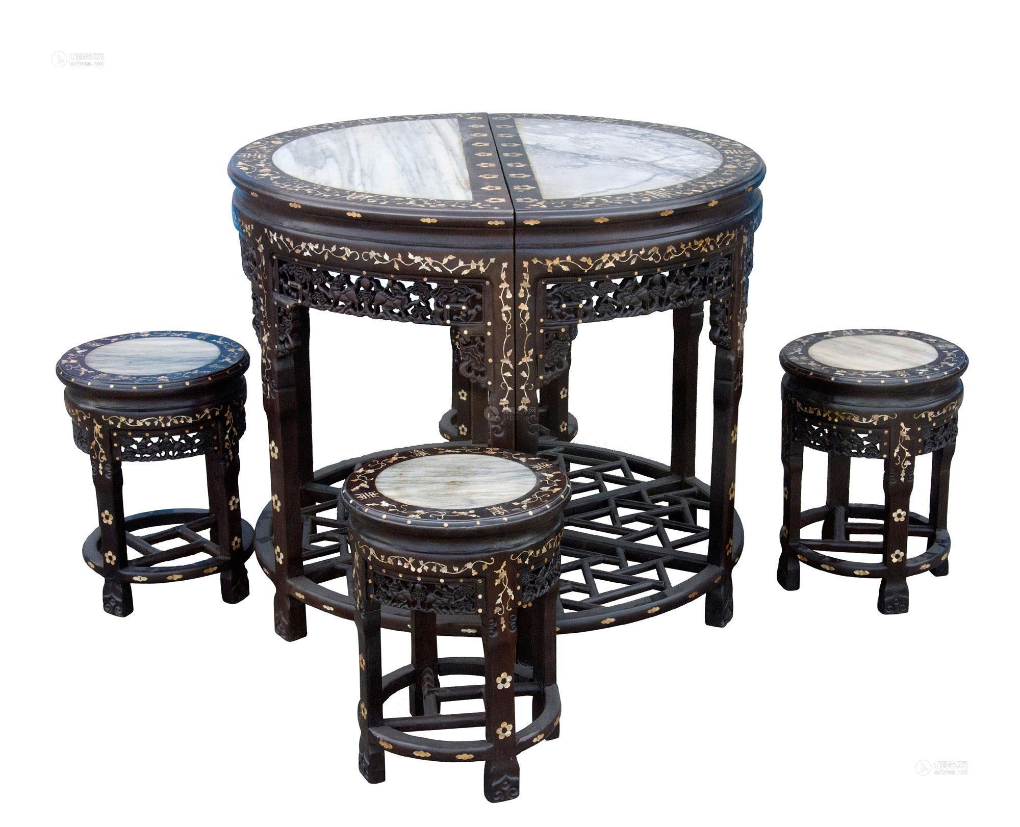 【老红木圆桌 (一套)】拍卖品