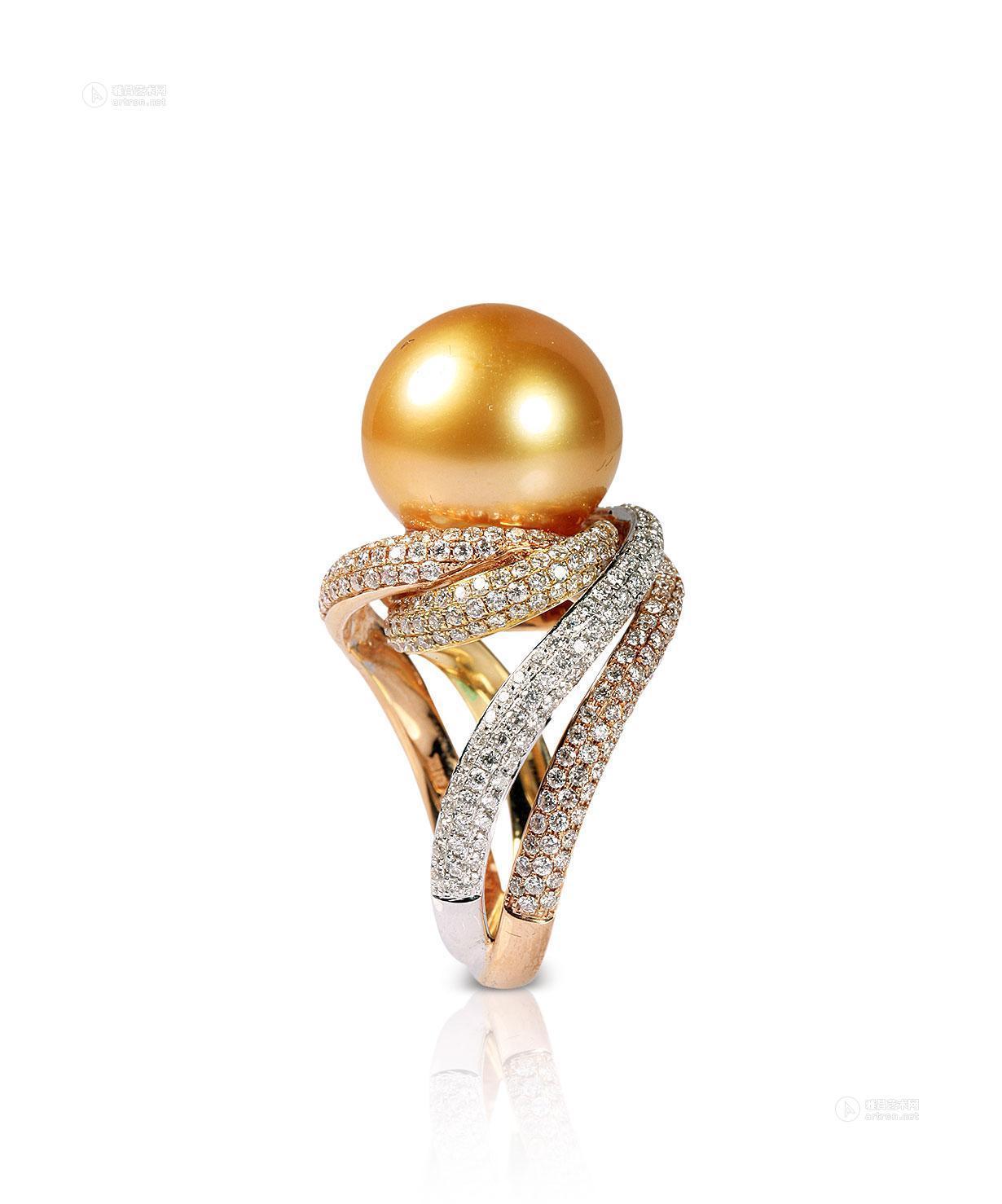 1514 珍珠镶钻戒指