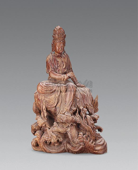 1618 民国 木雕自在观音坐像