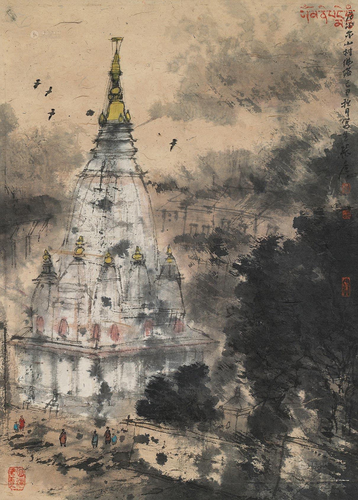 尼泊尔山村佛塔