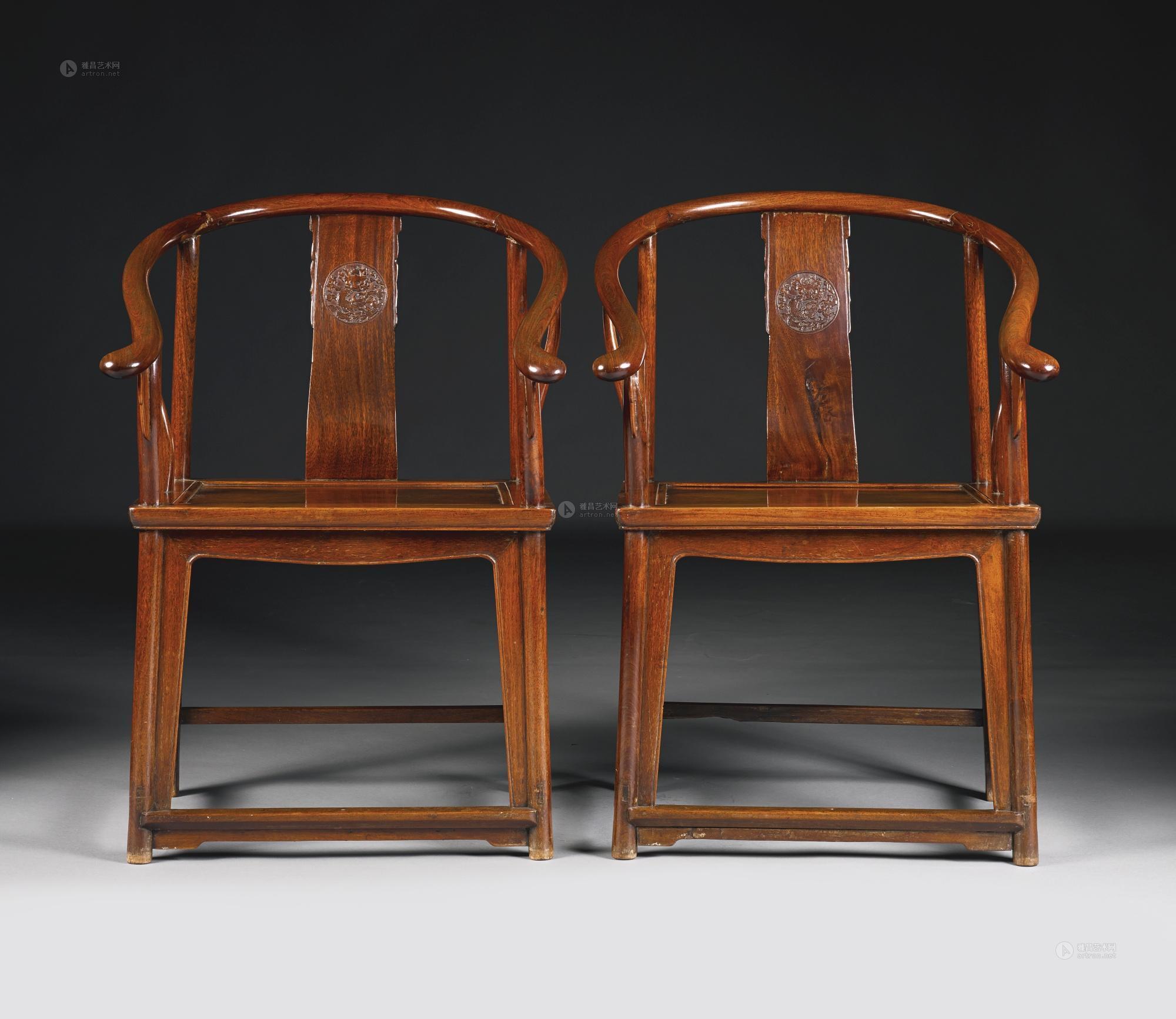【清十九世纪 红木圈椅 (一对)】拍卖品_图片_价格