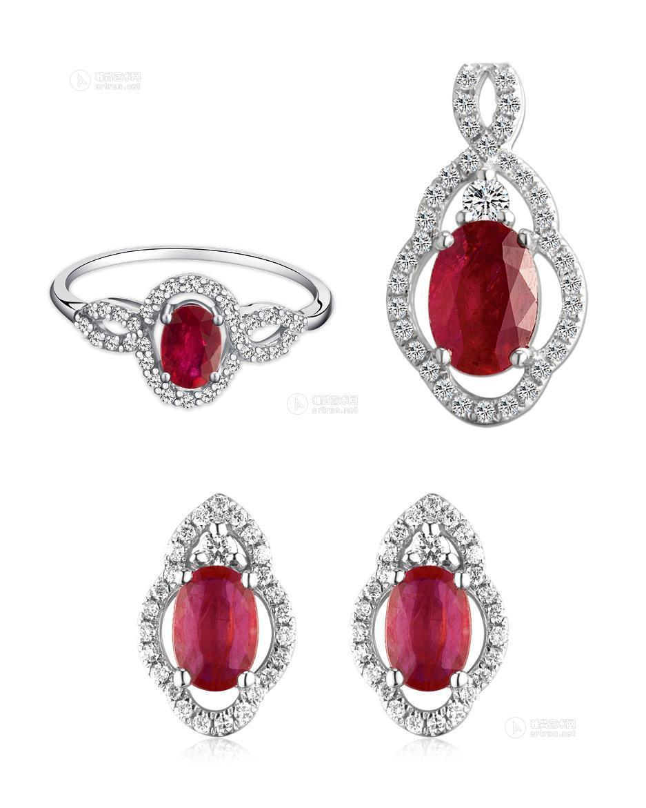 0221 g750金红宝石吊坠 g750金红宝石戒指 g750金红宝石耳环