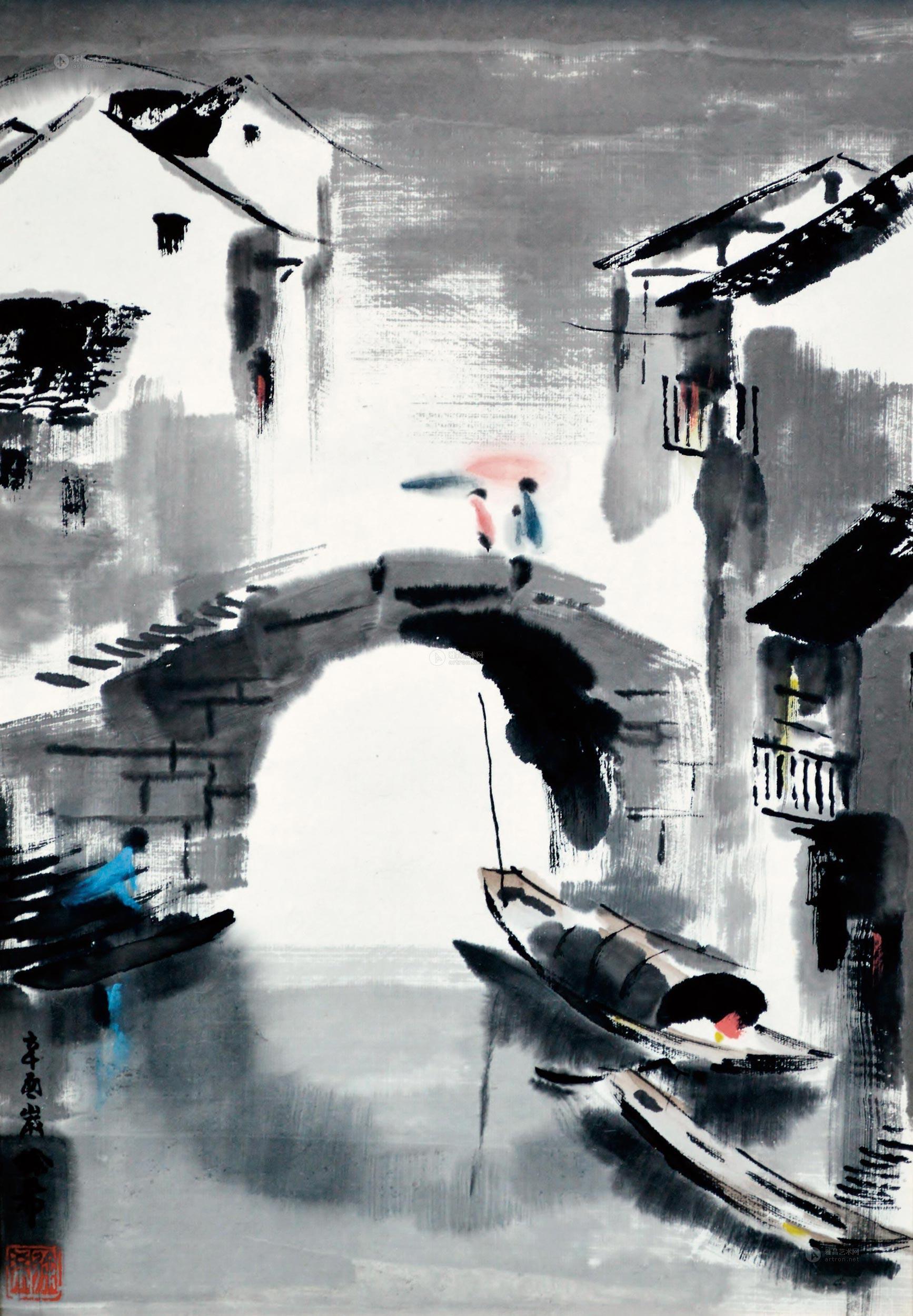 0408 江南雨中 镜心 纸本设色