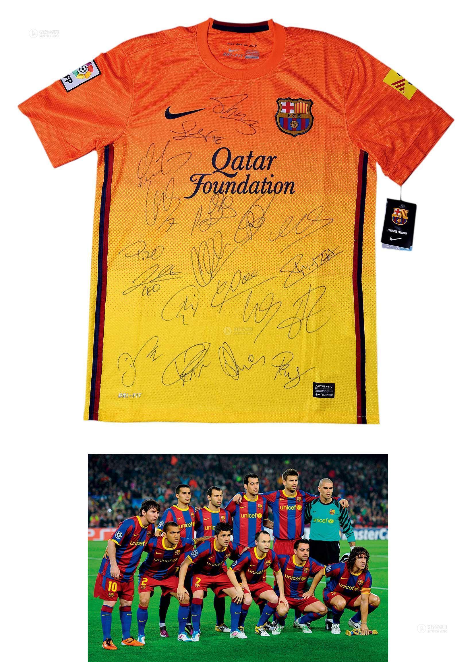 2234 巴萨罗那足球队全体队员签名球衣