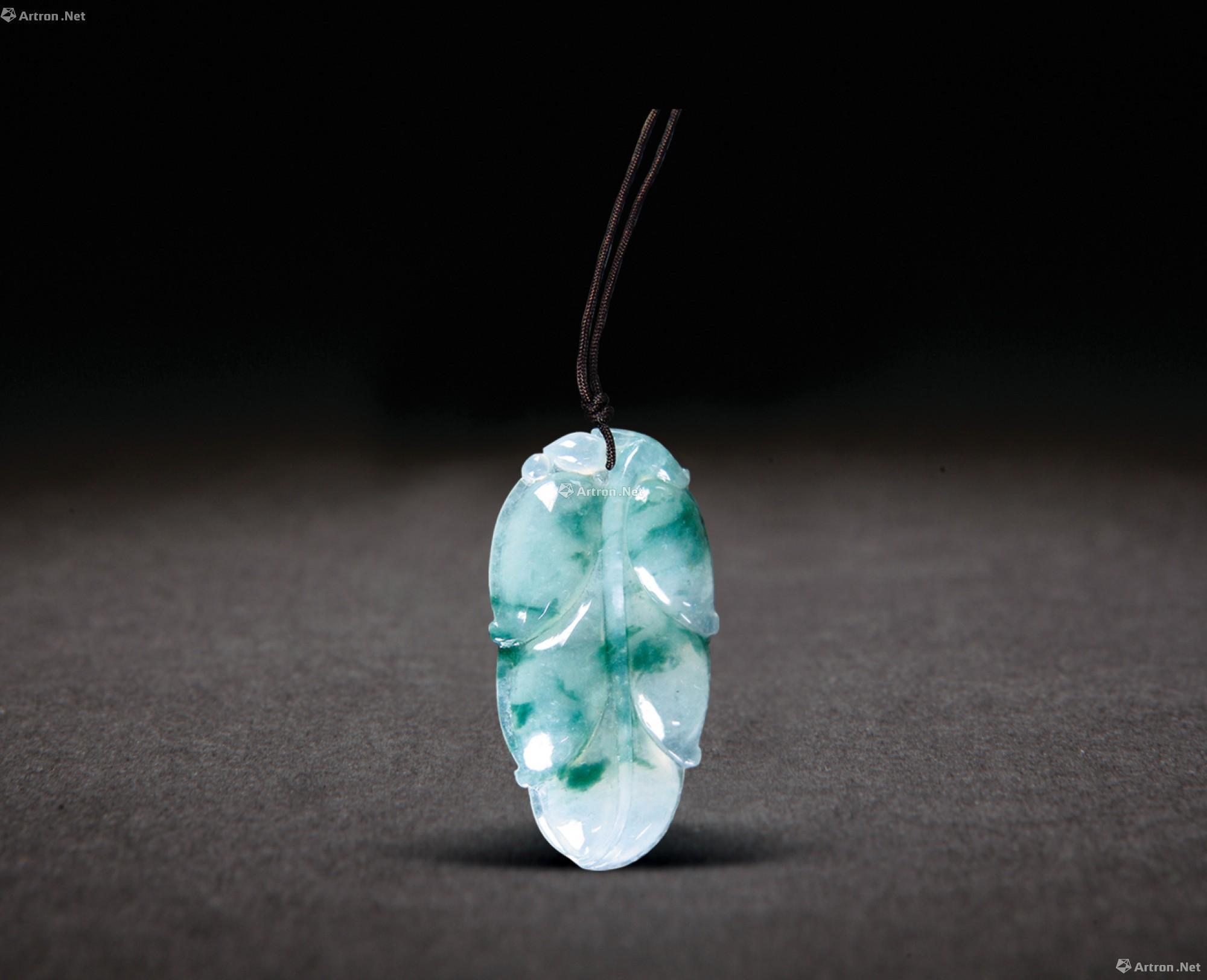 【冰种翡翠飘花树叶挂件】拍卖品