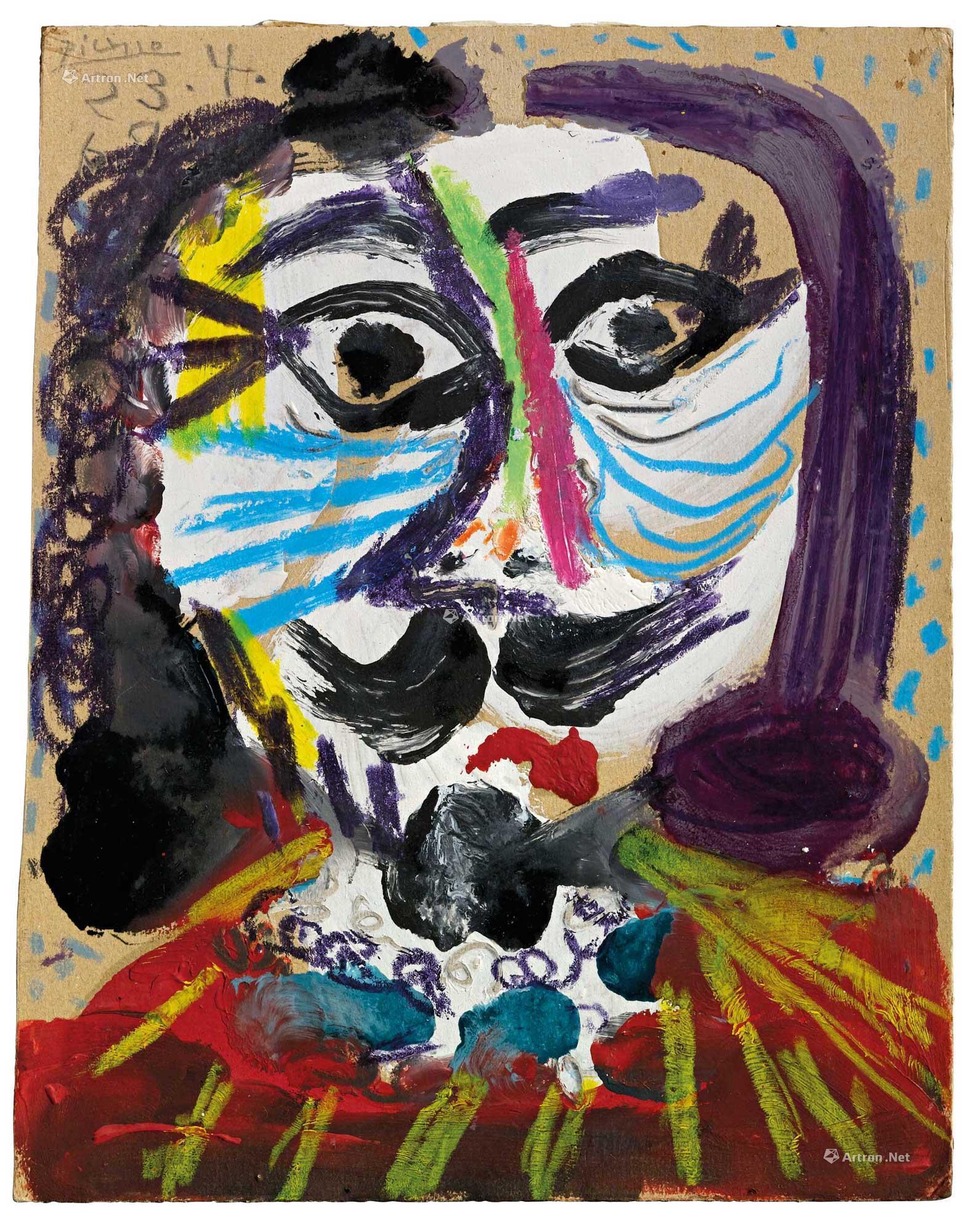 0214 1969年4月23日作 男人头像 油彩 粉彩 纸板