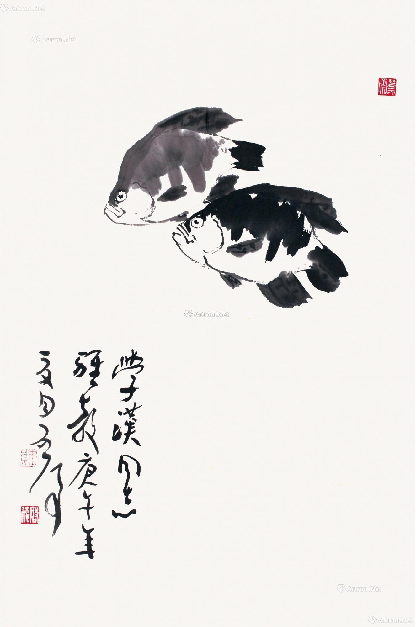 0056 双鱼图 镜心(片) 水墨纸本