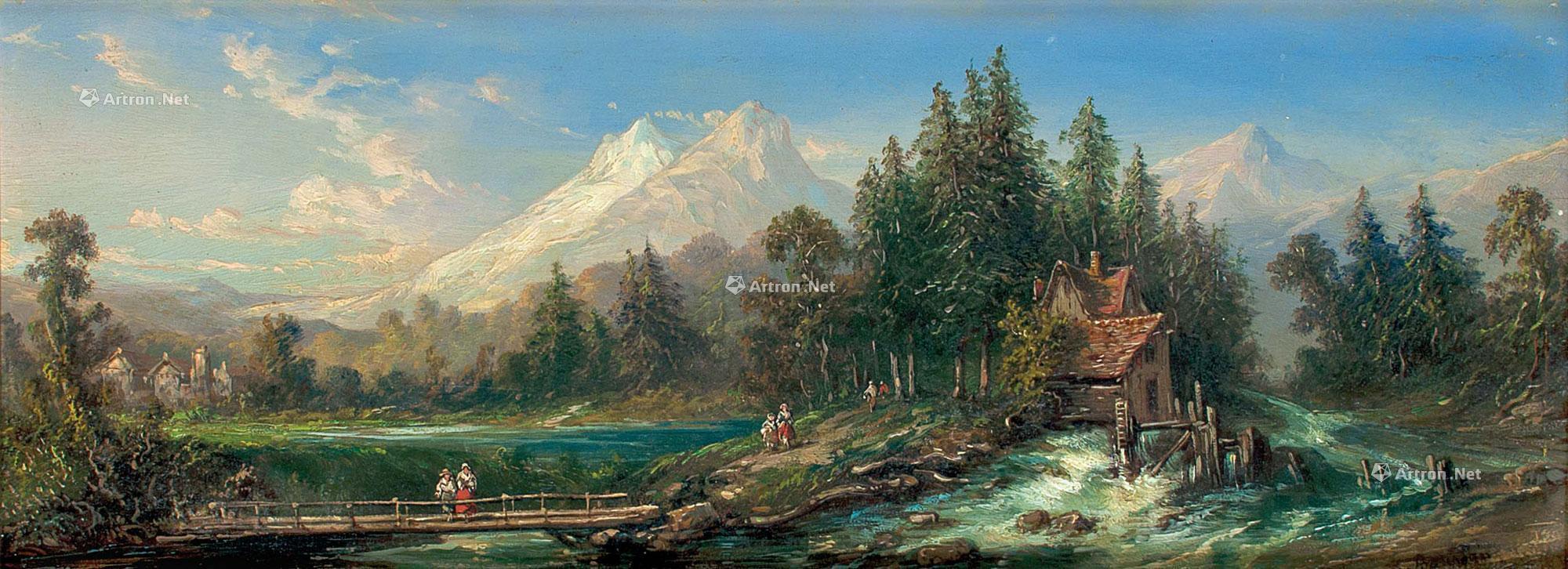 1169 19世纪 雪山风景 布油画