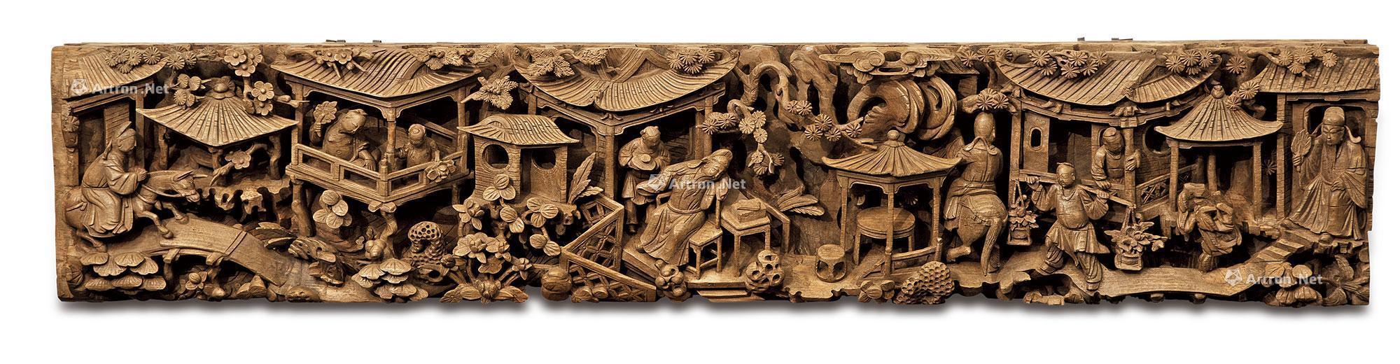 1328 明代 人物楼阁山水木雕