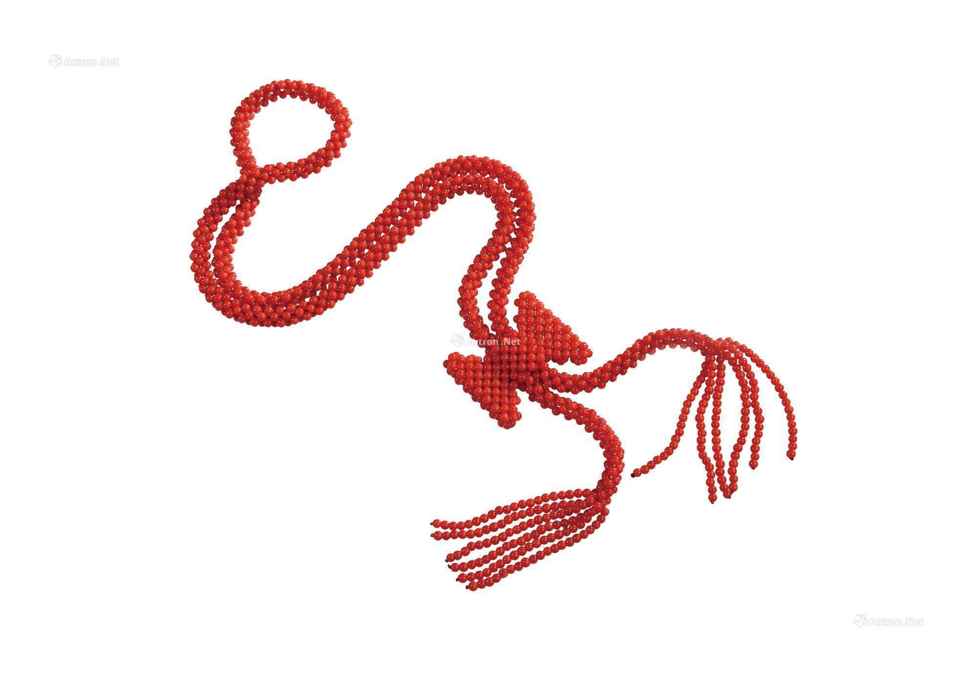 0317 红珊瑚圆珠蝴蝶结编织毛衣链