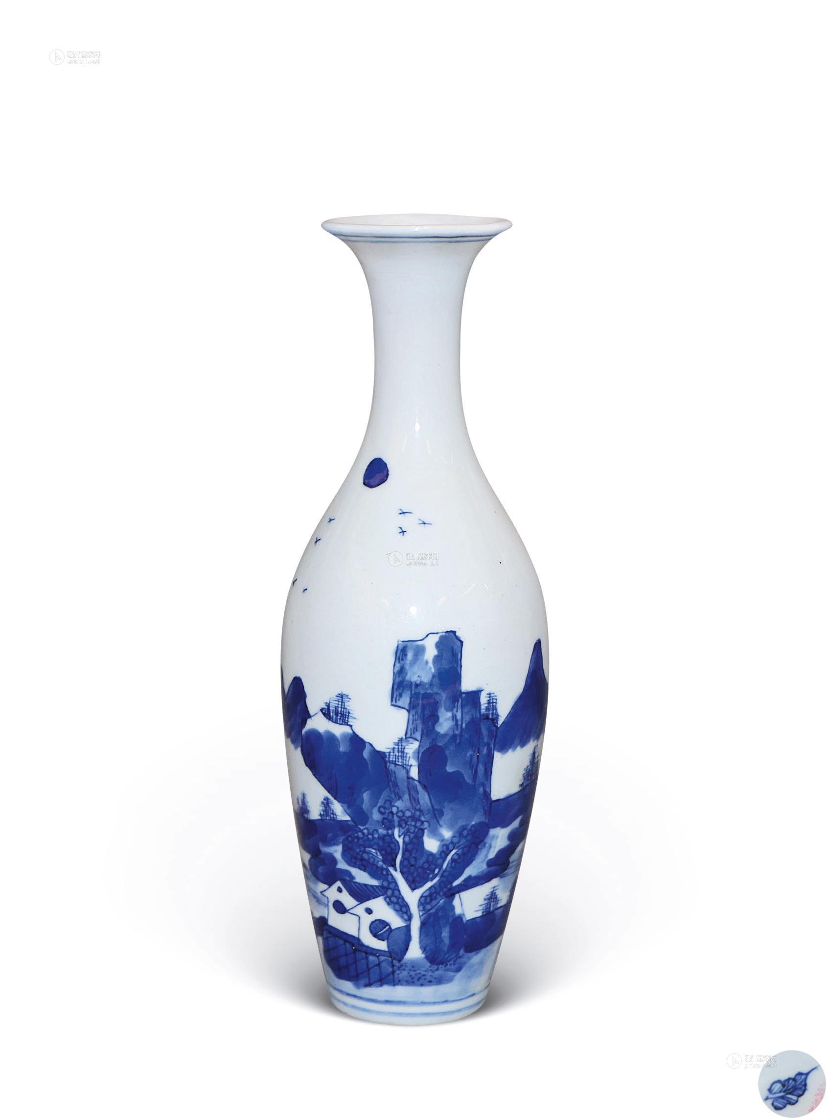 0264 康熙 青花山水纹柳叶瓶图片
