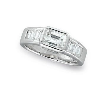 0006 18k白金长方形钻石戒指