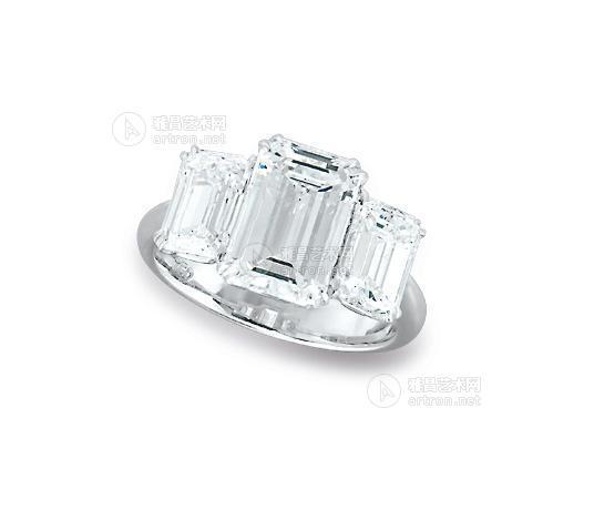 【18k白金长方形钻石戒指】拍卖品