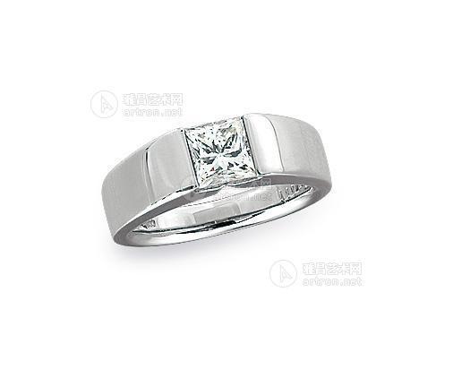 0123 铂金公主方形钻石戒指