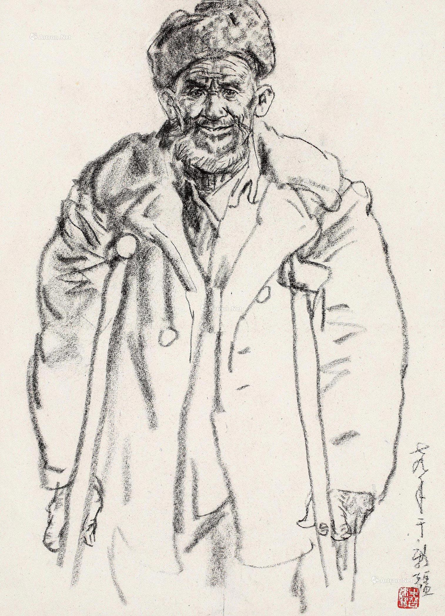 老人素描头像线稿