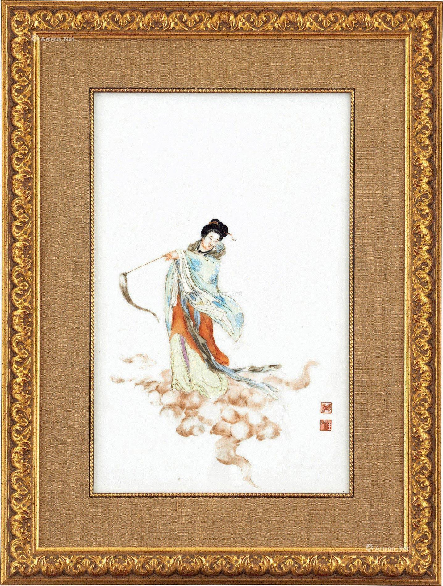 1986 民国 粉彩仙女图瓷板