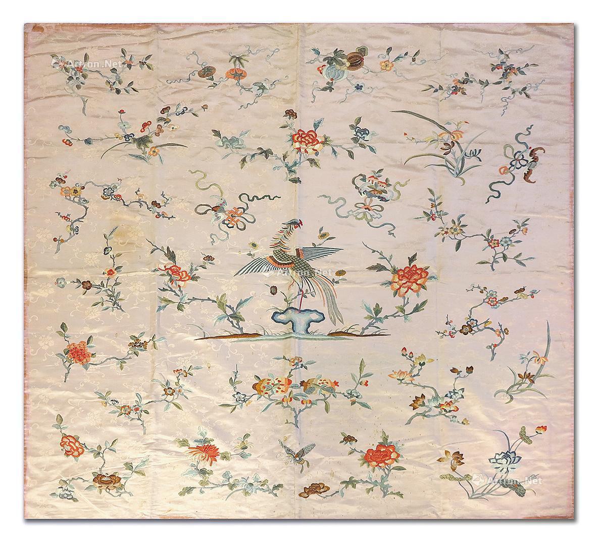 0756 刺绣花鸟蝙蝠纹台布