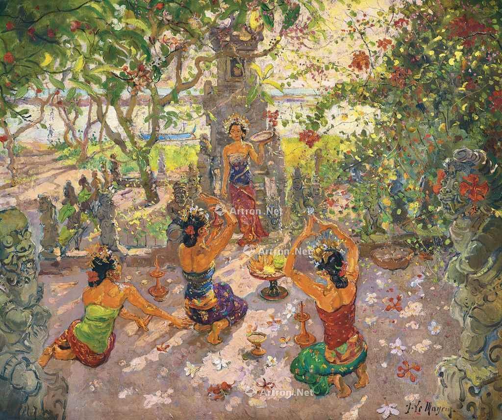 峇里祭典 油彩 画布 原装手雕峇里式框