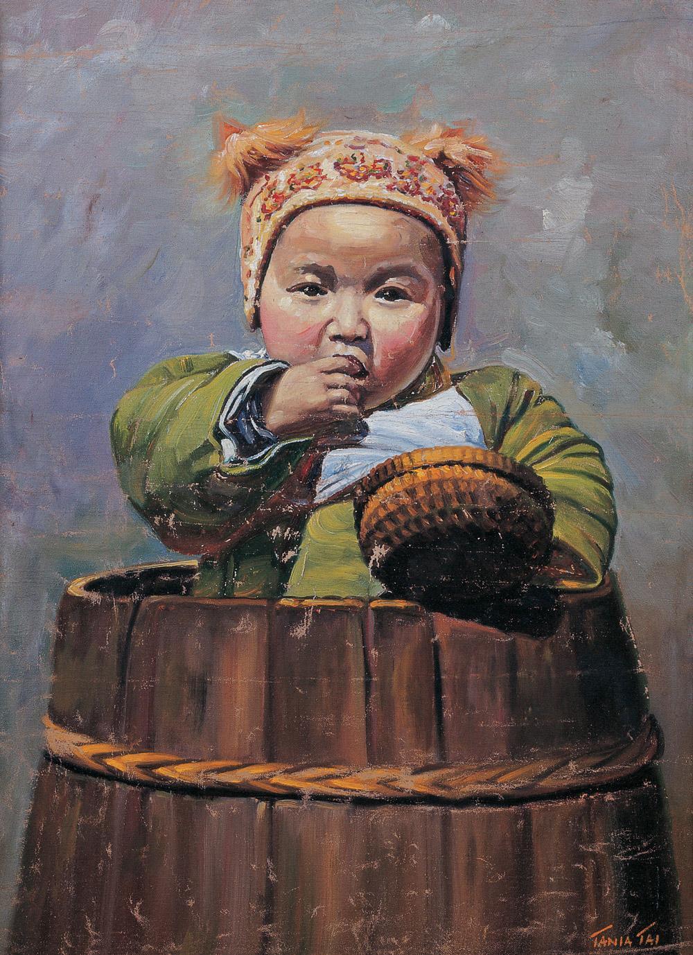 0053 民国 木桶中的小孩 布面 油画