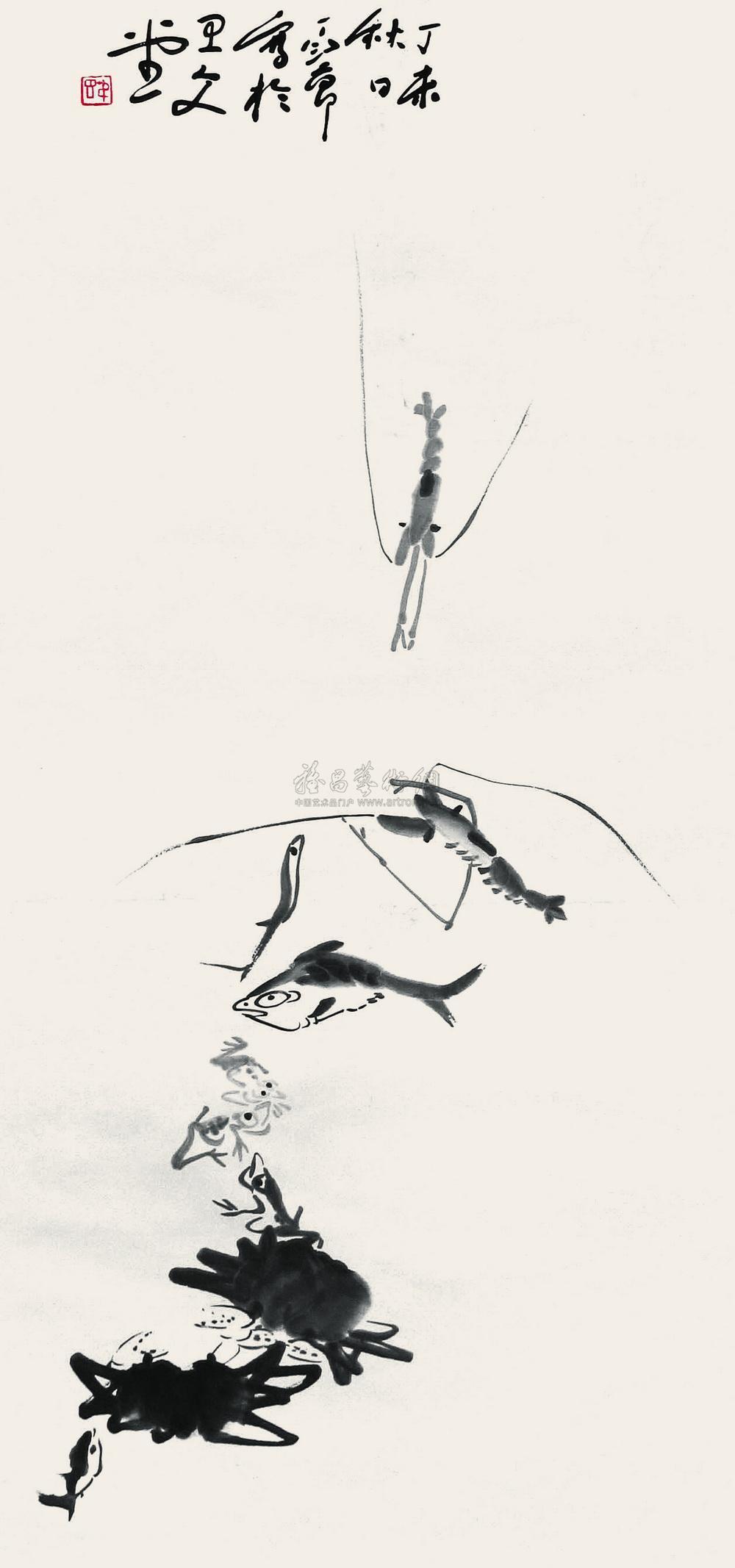 0166 鱼虾蟹 立轴 水墨纸本