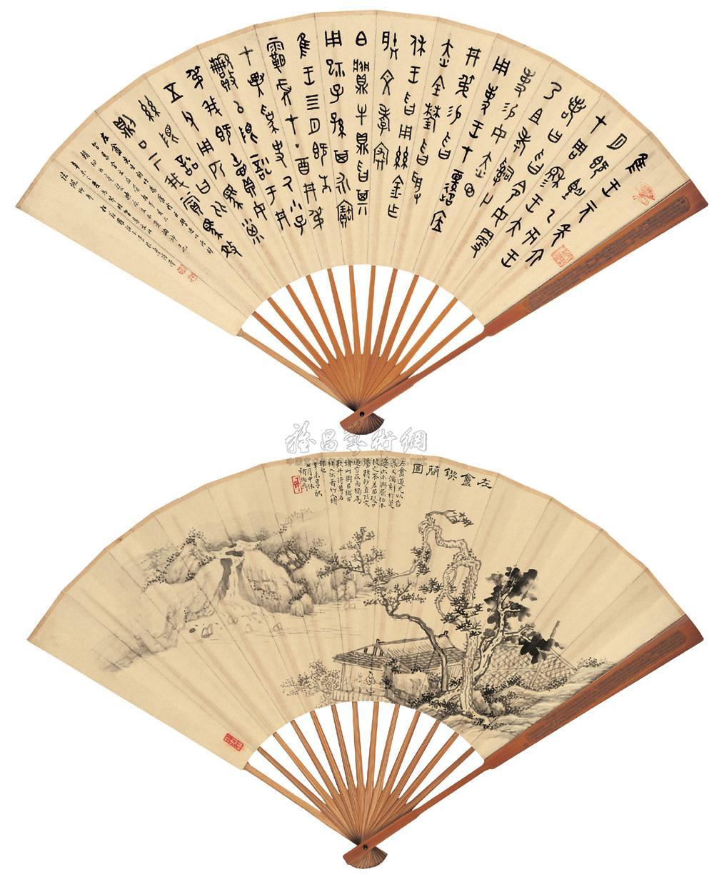 �_0396 辛未(1931年)作 节临曶鼎铭文 左盦锲简图 水墨纸本